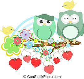 sprytny, kwiat, drzewo, dwa, sowy, gałąź, ptak