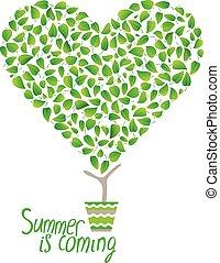 sprytny, kwiat, serce, liście, drzewo, stylizowany, pot., robiony, zielony, mały, topiary