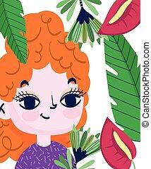 sprytny, kwiaty, dłoń, dziewczyna, liście, botanika, ozdoba