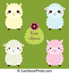 sprytny, lamas., rysunek, lama, characters., szczęśliwy, kawaii, alpaca., wektor, ilustracja, dla, dzieciaki, i, niemowlęta, fashion., zwierzęta, majchry