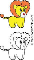 sprytny, lew, rysunek