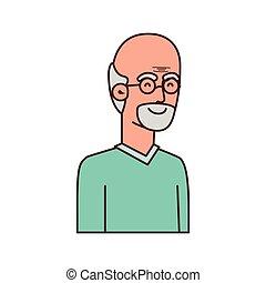 sprytny, litera, avatar, dziadek