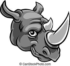 sprytny, litera, nosorożec, szczęśliwy, rysunek, maskotka