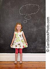 sprytny, młoda dziewczyna, przed, chalkboard, z, niejaki, myślenie, bańka