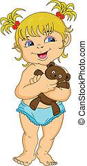 sprytny, mała dziewczyna, dzierżawa, lalka