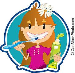 sprytny, mała dziewczyna, myć, zęby