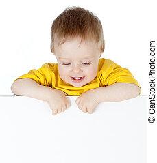 sprytny, małe dziecko, z, czysty, reklama, chorągiew