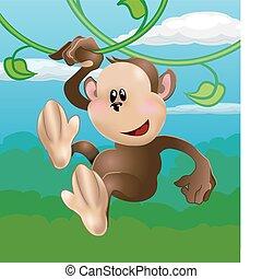 sprytny, małpa, ilustracja