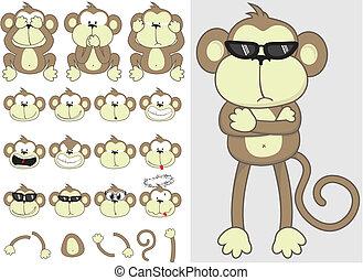 sprytny, małpa, komplet