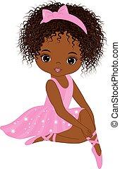 sprytny, mały, balerina, amerykanka, wektor, afrykanin