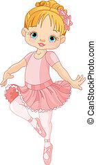 sprytny, mały, balerina