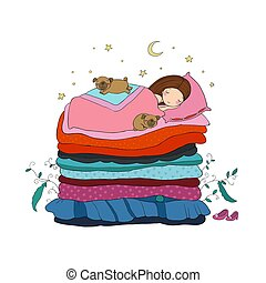 sprytny, mały, bed., spanie, dziewczyna, mopsy