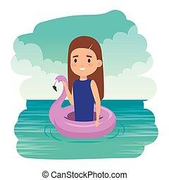 sprytny, mały, flamandzki, pływak, morze, dziewczyna, dama