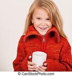 sprytny, mały, h, sweter, kubek, dzierżawa, portret, dziewczyna, czerwony