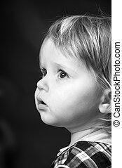 sprytny, mały, kolor, czarnoskóry, niemowlę, portret, biały