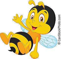 sprytny, mały, pszczoła, falować, ręka, rysunek