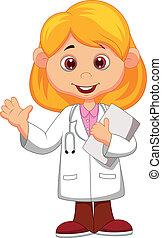sprytny, mały, samiczy doktor, w, rysunek