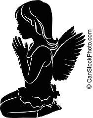 sprytny, mały, sylwetka, anioł, dziewczyna, modlący się