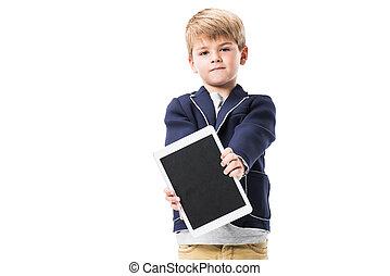 sprytny, mały, tabliczka, chłopiec, ekran, cyfrowy, odizolowany, patrząc, aparat fotograficzny, dzierżawa, czysty, biały
