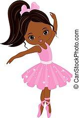 sprytny, mały, taniec, balerina, amerykanka, wektor, afrykanin