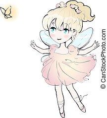 sprytny, mały, wektor, taniec, ilustracja, dziewczyna, wróżka, ballerina.