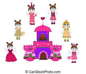 sprytny, mały, zamek, vec, księżna