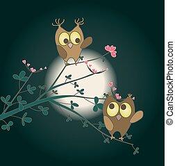 sprytny, miłość, dwa, sowy, flowers., wektor, serca, gałązka