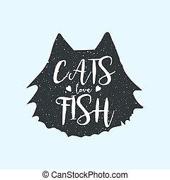 sprytny, miłość, fish, t-shirt, zabawa, koty, projektować, druk, albo