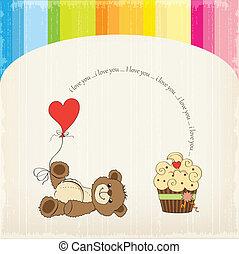 sprytny, miłość, karta, niedźwiedź, teddy