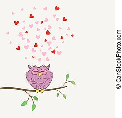 sprytny, miłość, sowa, wektor, twig., śniący, serca
