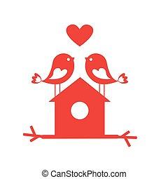 sprytny, miłość, -, valentine, birdhouse, ptaszki, dzień, karta