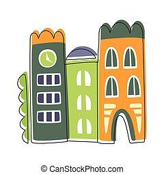 sprytny, miasto, inny, konturowany, wetknięty, ilustracja, element, opowiadanie, domy, każdy, wróżka, wąski, rysunek, krajobraz