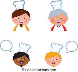 sprytny, mistrz kucharski, głowy, ikony, zbiór, odizolowany, na białym