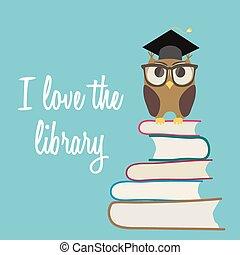 sprytny, monokle, miłość, sowa, books., korona, skala, tło., wektor, stos, biblioteka, posiedzenie