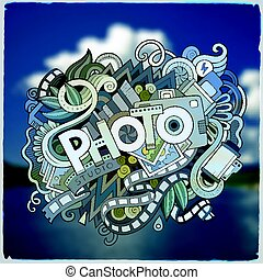 sprytny, napis, fotografia, ręka, doodles, pociągnięty, rysunek