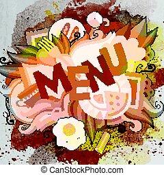 sprytny, napis, menu, ręka, doodles, pociągnięty, rysunek
