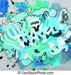 sprytny, napis, podróż, ręka, doodles, pociągnięty, rysunek