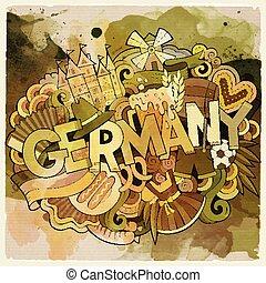 sprytny, napis, ręka, niemcy, doodles, pociągnięty, rysunek