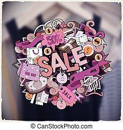 sprytny, napis, sprzedaż, ręka, doodles, pociągnięty, rysunek