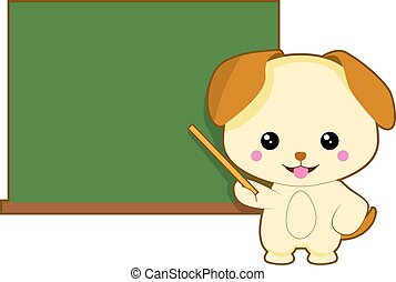 sprytny, nauczanie, pies, tło, tablica