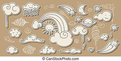 sprytny, niebo, doodle