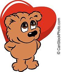 sprytny, niedźwiedź, dzierżawa, serce