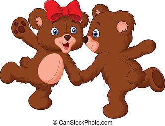 sprytny, niedźwiedź, para, rysunek, taniec