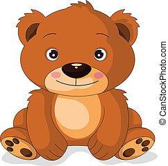 sprytny, niedźwiedź, rysunek