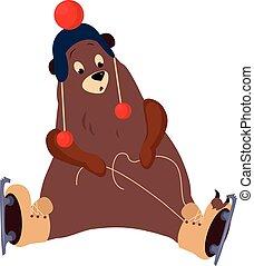 sprytny, niedźwiedź, wektor, ilustracja, przywiązywanie, ...