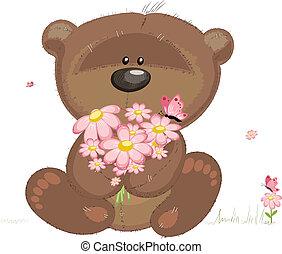 sprytny, niedźwiedź, z, kwiaty