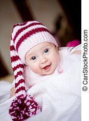 sprytny, niemowlę, w, niejaki, kapelusz z pompom