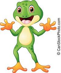 sprytny, obaj, żaba, falujące ręki, rysunek