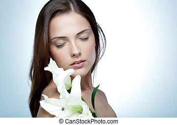 sprytny, oczy, kobieta, kwiat, zamknięty, portret