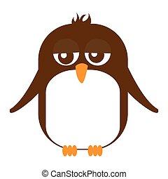 sprytny, odizolowany, zwierzę, konserwator, pingwin, ikona